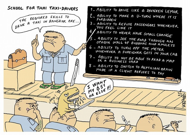 school for Thai taxi-drivers  cartoon by Stephffnewsclip